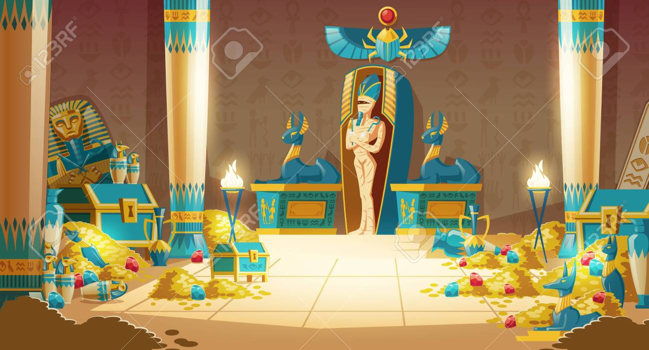 Vector Egyptian tomb - pharaoh sarcophagus with mummy, treasure and other symbols of culture. Cartoon background of ancient pyramid with gold. Anubis, Bastet sculptures, hieroglyphs and scarab. - 125916109