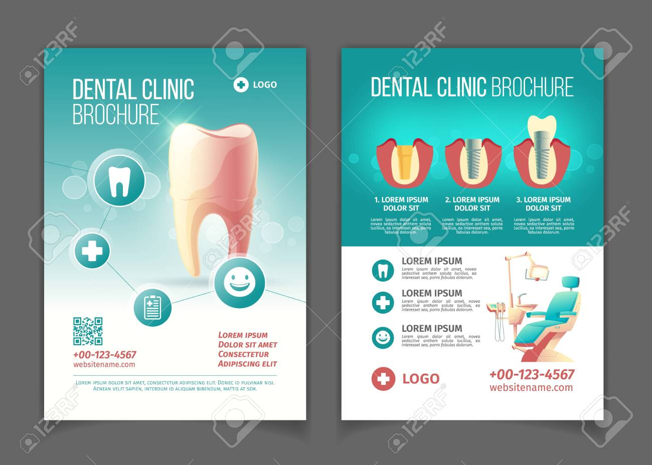 Dental clinic advertising brochure, poster cartoon vector pages template. Comfortable stomatology chair with lamp, healthy tooth, modern dental implants and crowns technology infographics illustration - 126742752