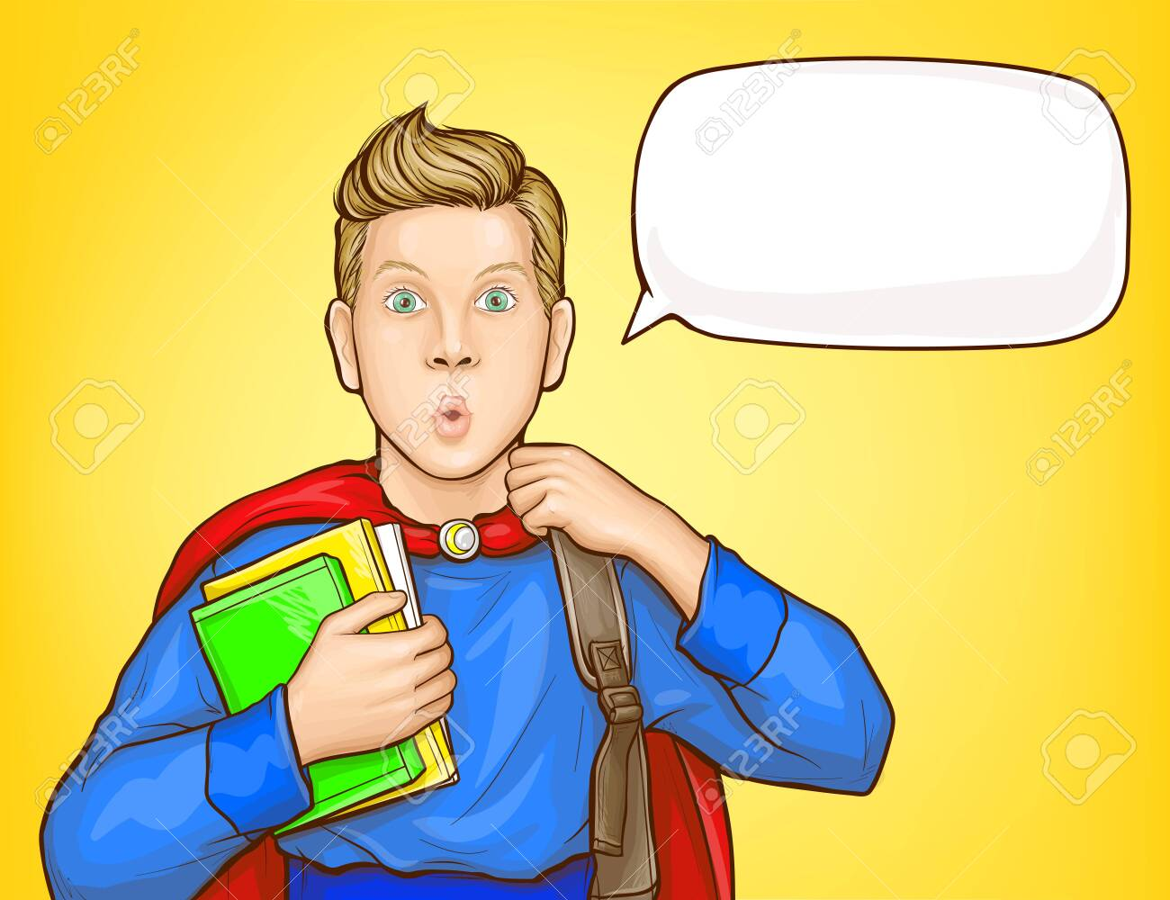 Surprised schoolboy, student in super hero suit, with backpack over shoulder, holding books, looking with amazement popart vector illustration. School supplies sale, educational course poster template - 137865718
