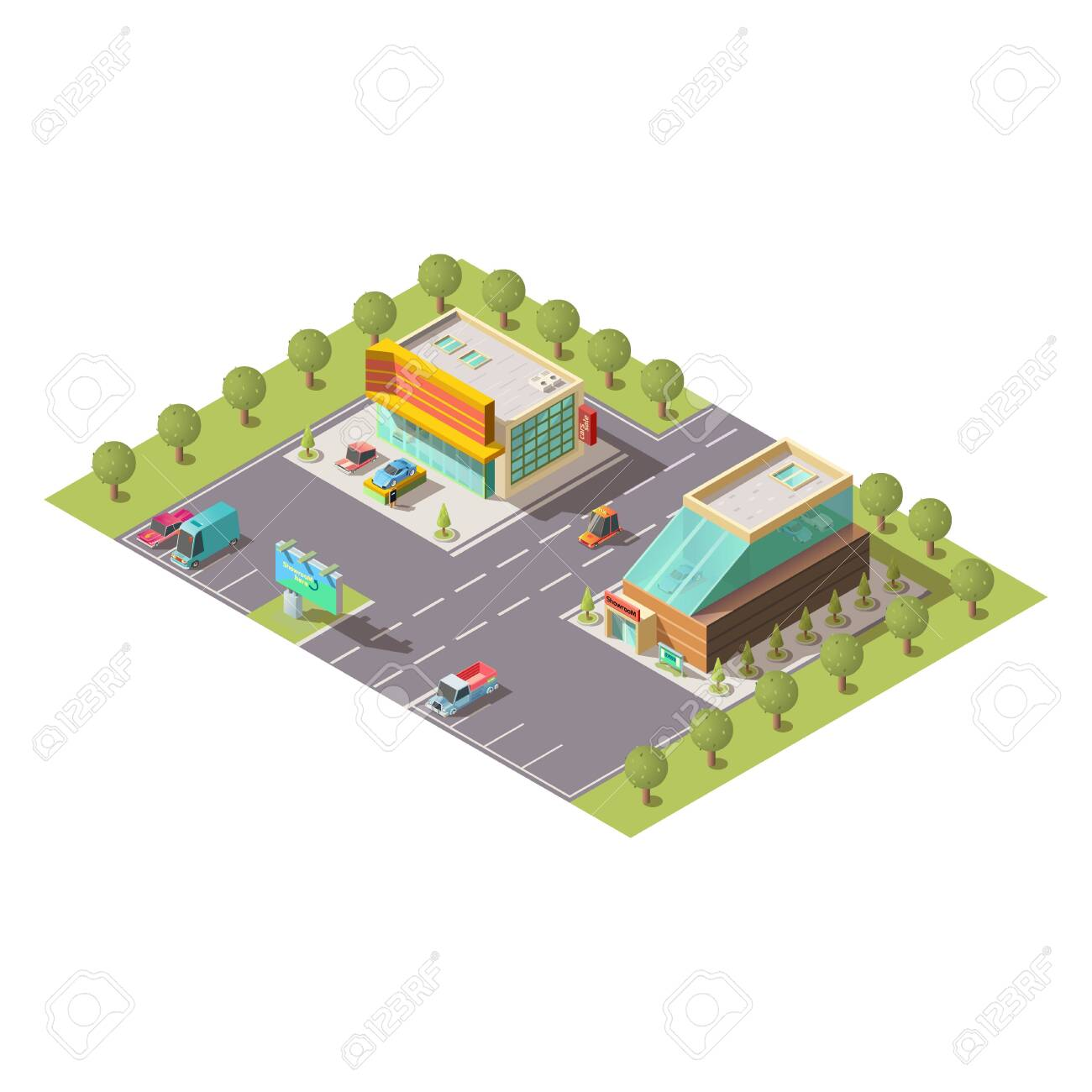 New car selling salon, passenger vehicle sale dealer showroom building exterior and parking isolated isometric vector. Modern city architecture, business real estate, cartography element illustration - 137856427