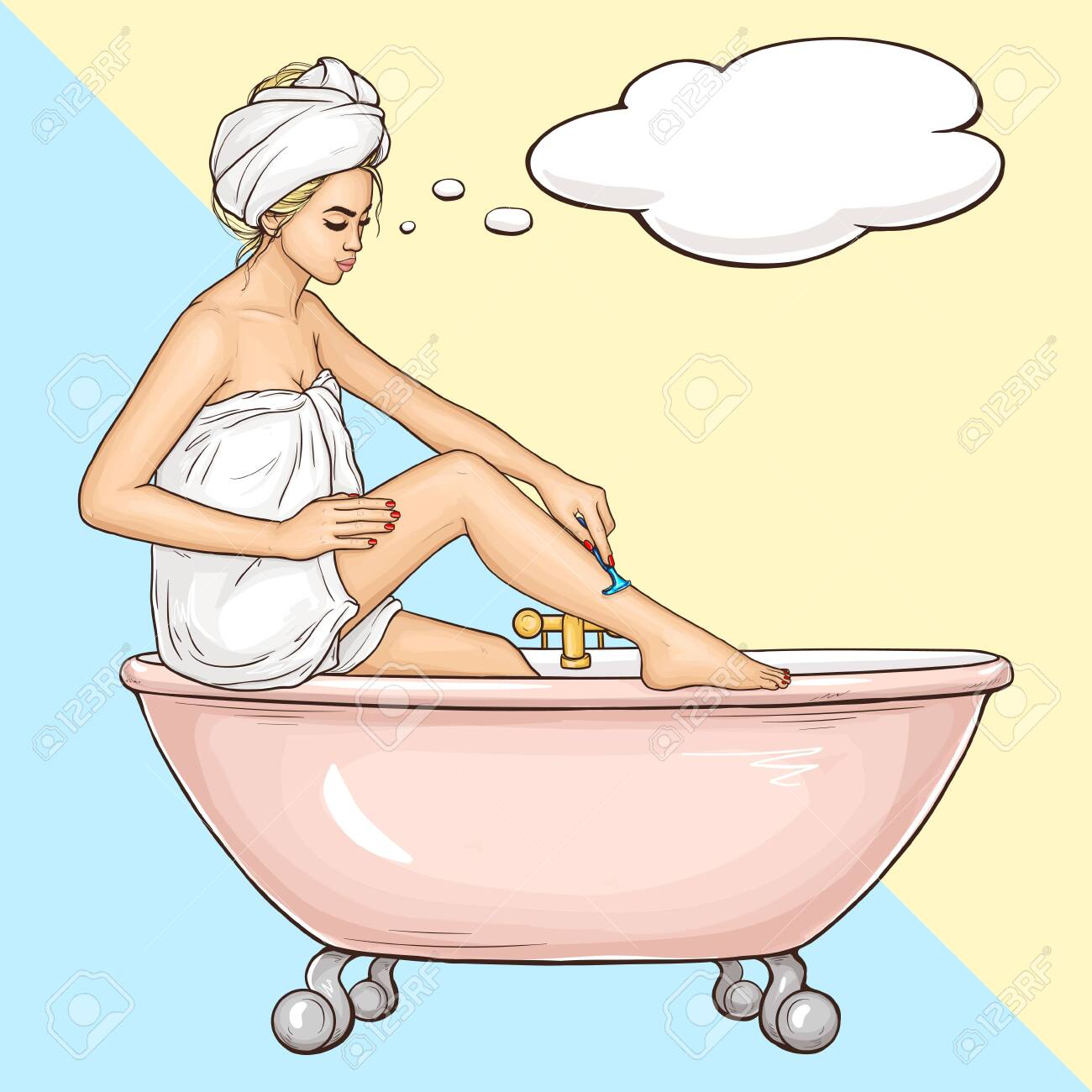 Women Hygiene And Beauty Body Care Cosmetics Pop Art Vector Royalty Free Cliparts Vectors And Stock Illustration Image 137886058