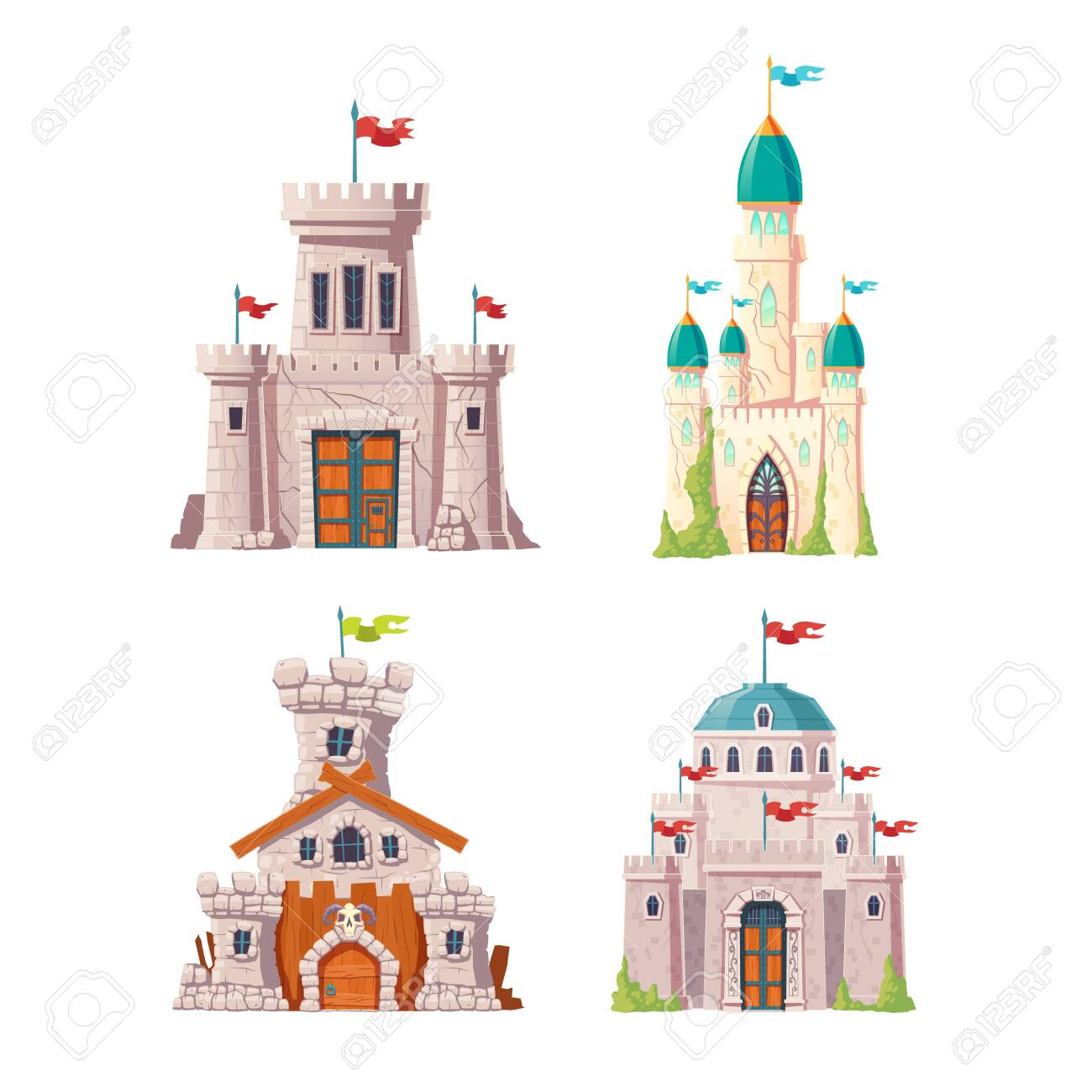 Fairytale castles, fantasy fortresses set. Medieval citadels with stone watchtowers, flags on spires, ivy growing on cracked walls. Abandoned stronghold ruins isolated, cartoon vector illustrations - 137886069