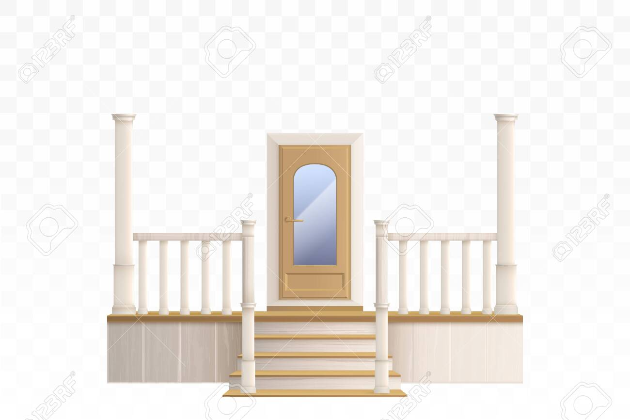 Wooden Front Door With Glass Window And Porch Staircase With Royalty Free Cliparts Vectors And Stock Illustration Image 138272421