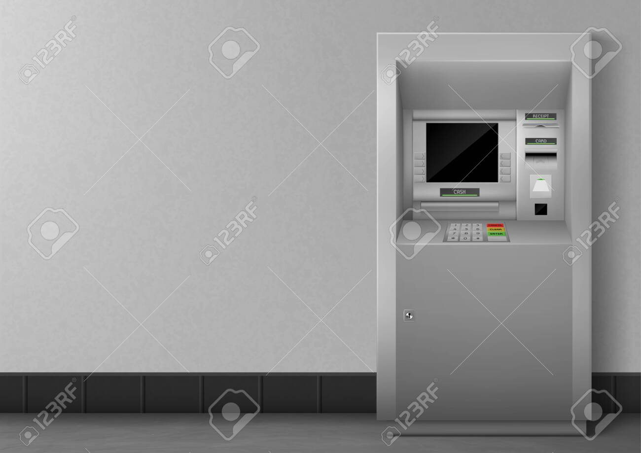 ATM with blank black display. Bank terminal for transaction, withdraw money and deposit to account. Vector illustration of realistic cash machine with copy space for your text. - 138272359