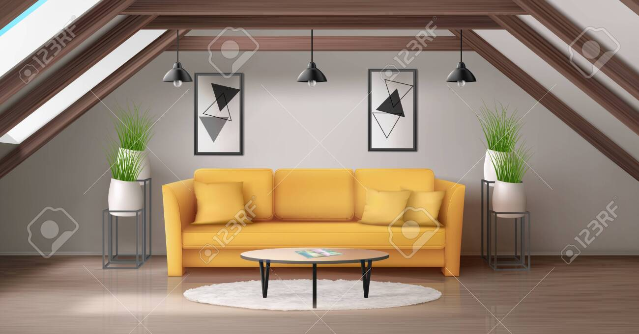 Modern Lounge On Attic With Wooden Ceiling Beam And Windows In Royalty Free Cliparts Vectors And Stock Illustration Image 138276785