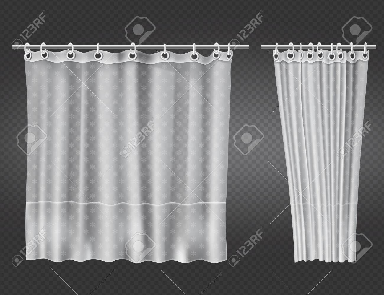 Picture of: White Clear Shower Curtains With Flowers Pattern Isolated On Royalty Free Cliparts Vectors And Stock Illustration Image 138535188