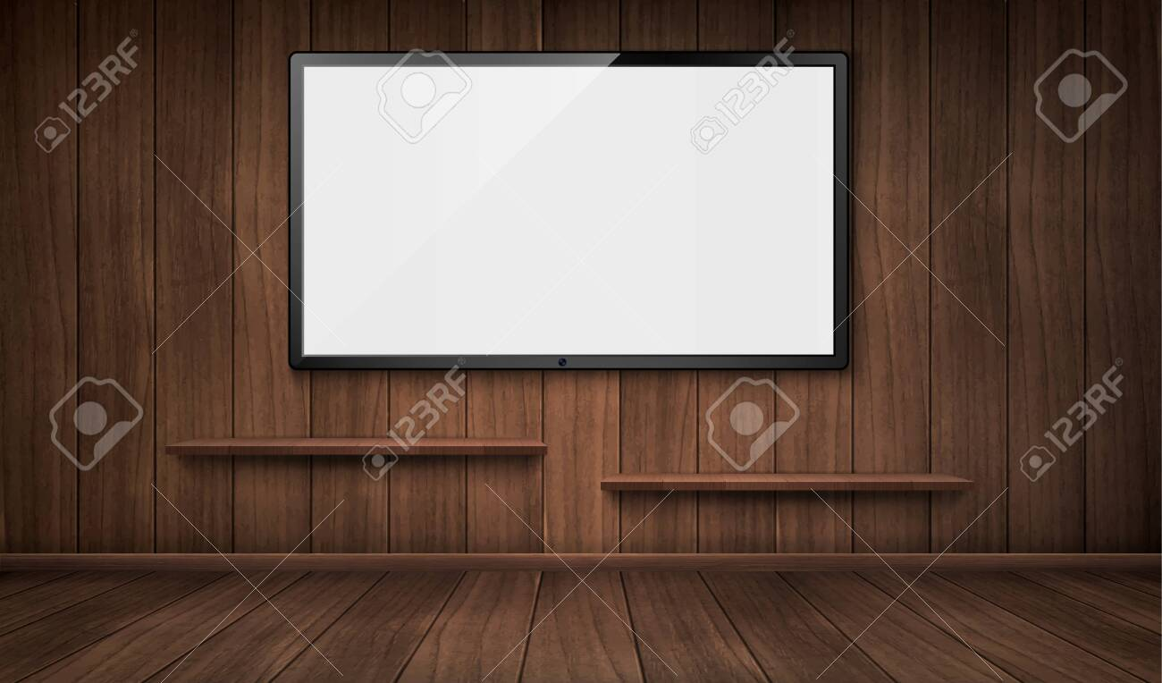 Empty Wooden Room With Wide Tv Screen And Bookshelves Vector Royalty Free Cliparts Vectors And Stock Illustration Image 138815207