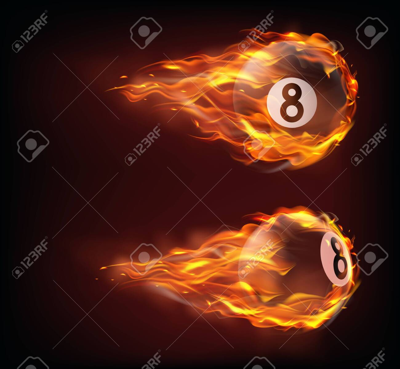 Flying black billiard eight ball in fire isolated on black background. Vector realistic pool or snooker ball with number 8 in flame with sparks. Template for banner or poster of sport tournament - 138823849