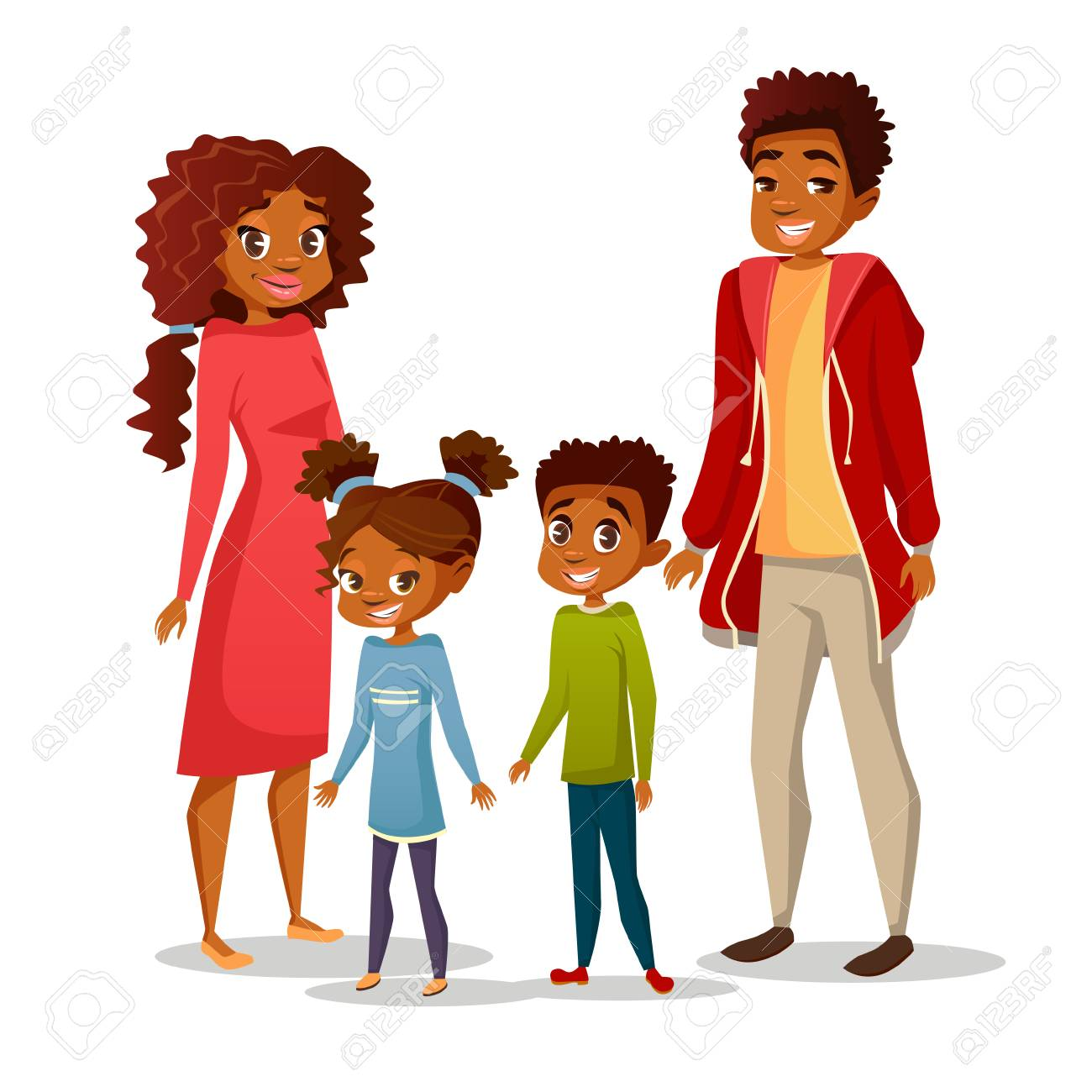 Afro American black family in casual clothing vector cartoon flat illustration. Happy father and mother parents, boy and girl children teens characters of African American nationality - 95981992