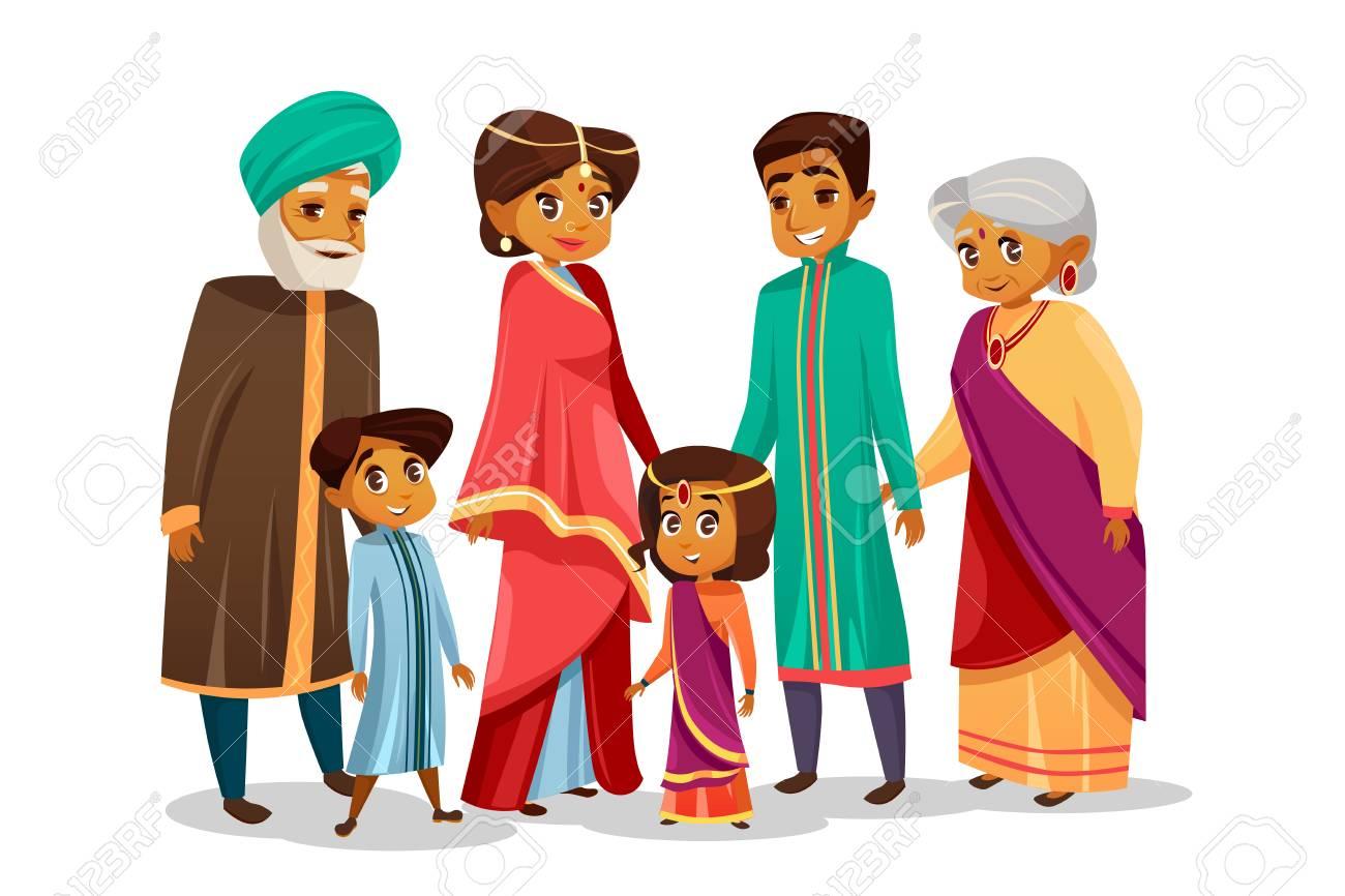 Vector cartoon Indian family characters set. - 97116553