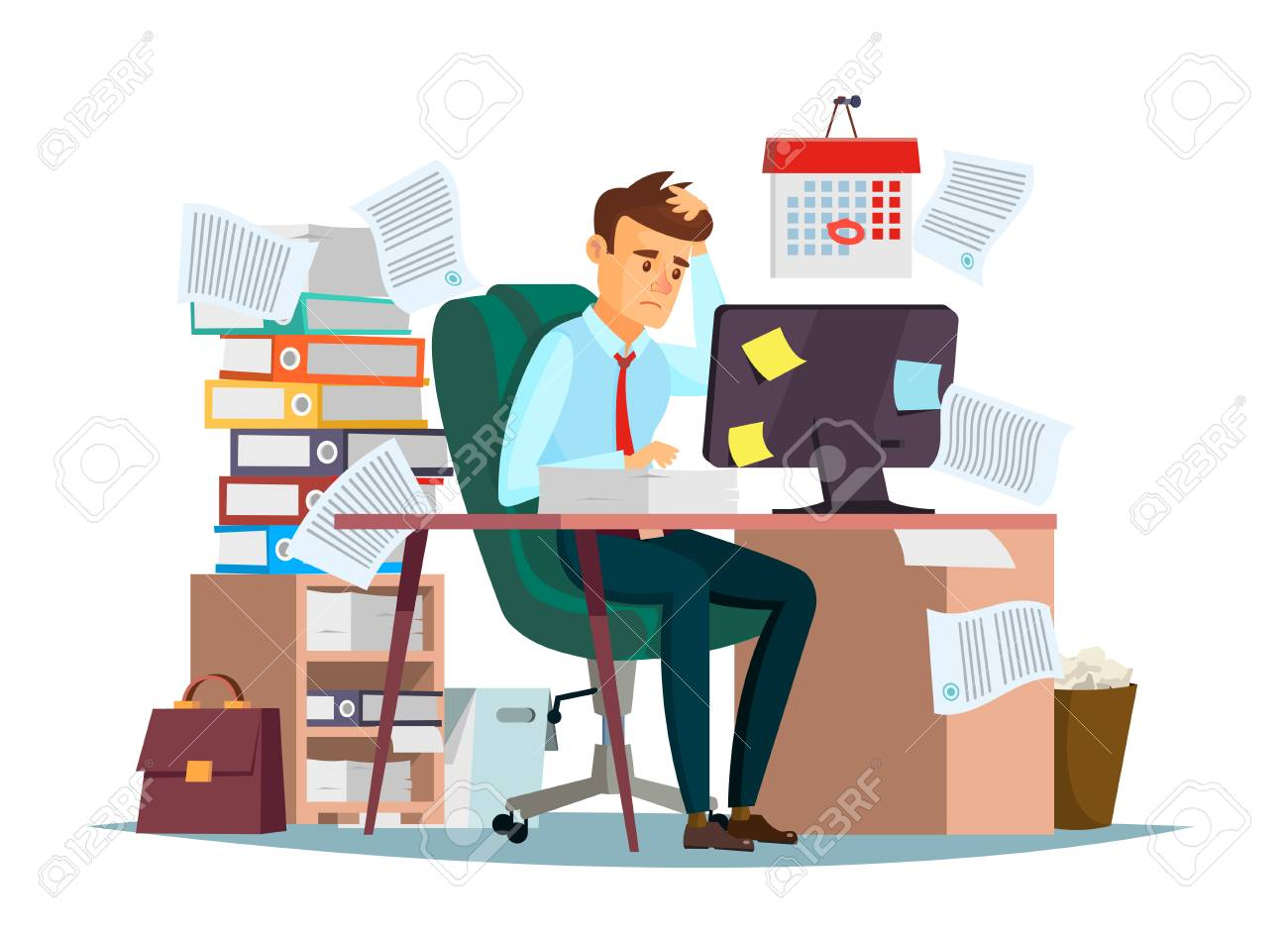 Manager sitting at computer desk with stack of documents in mess and deadline tasks sticky notes holding hand on head flat cartoon office design - 98144634