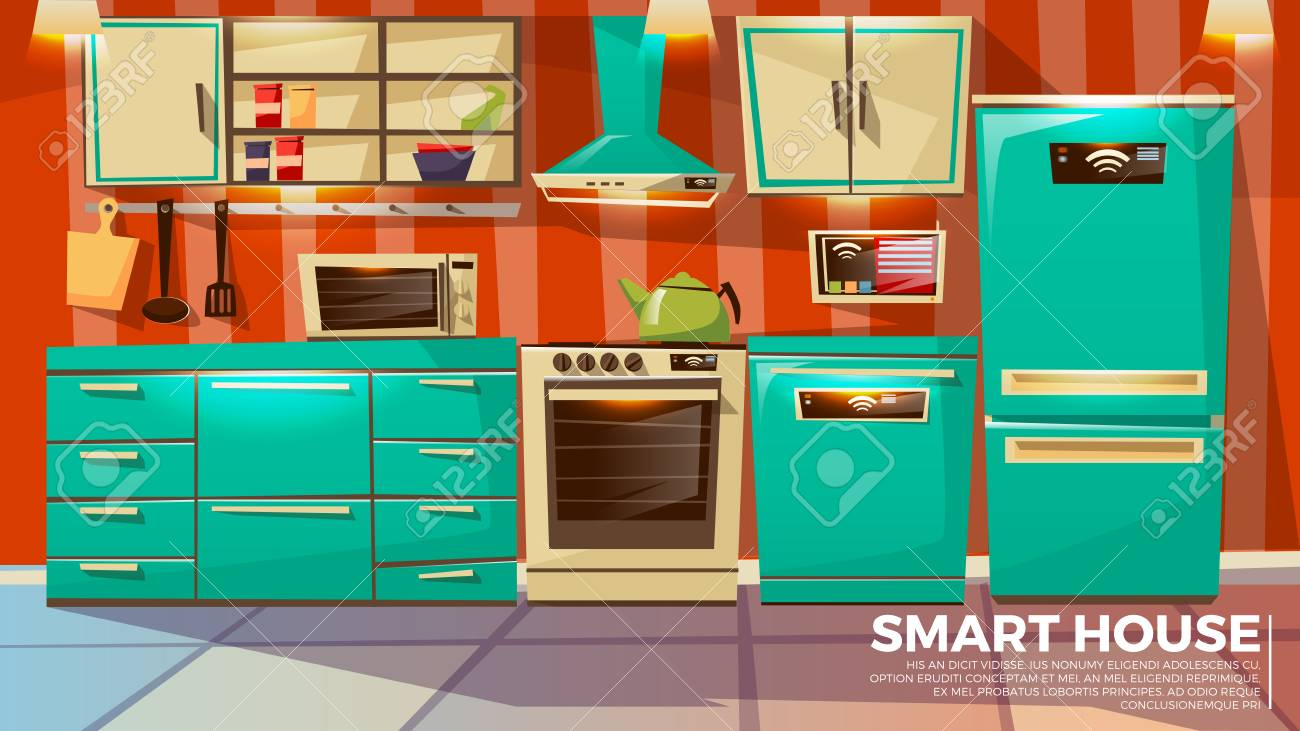 Smart Kitchen Interior Background Vector Illustration Of Home