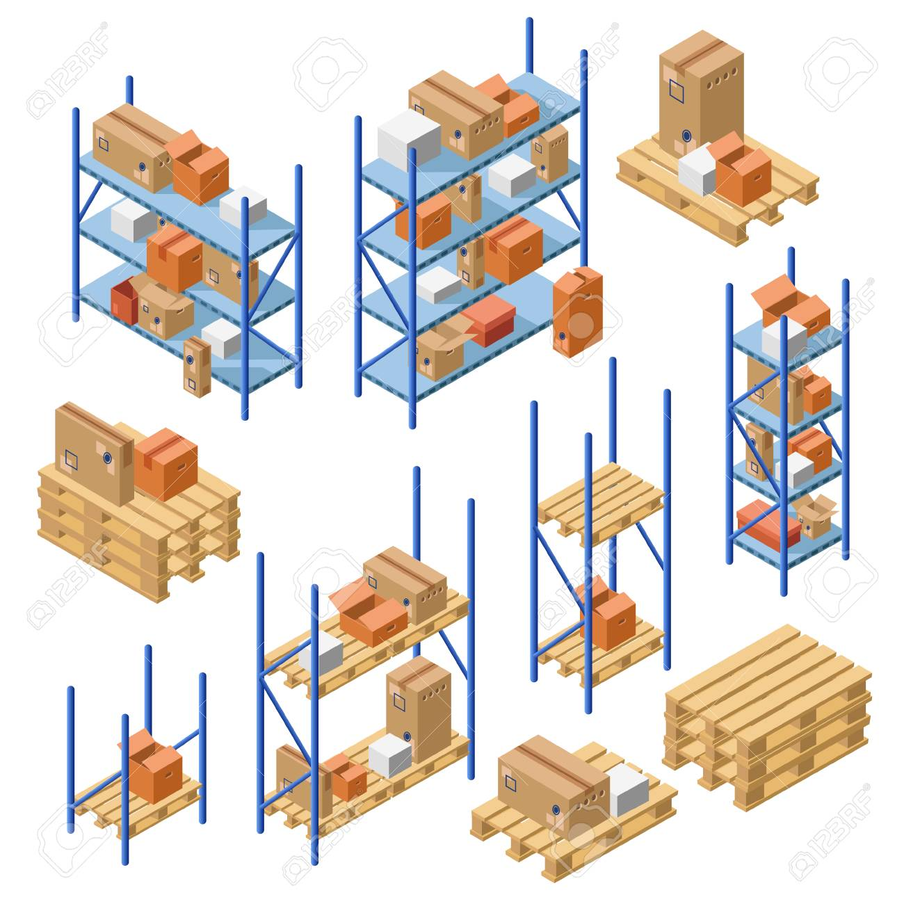 Isometric Warehouse Metal Shelves, Storage Rack, Shelf With Cardboard  Delivery Shipping Package Boxes Set