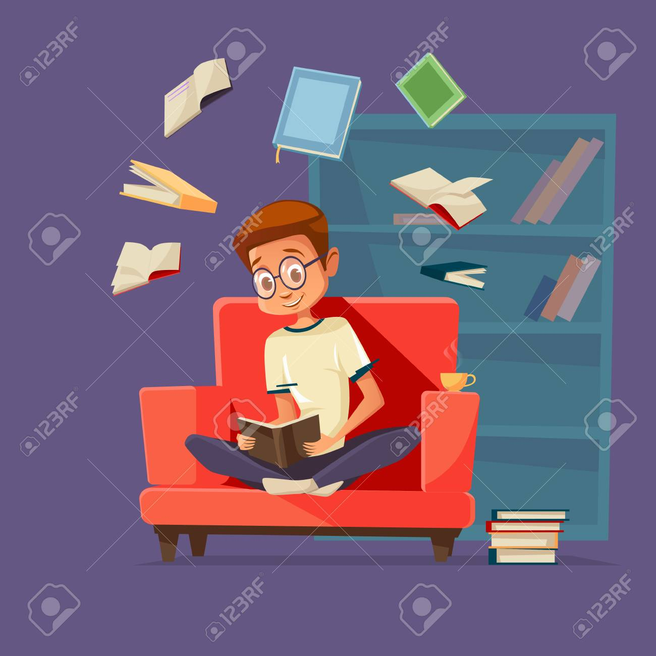 Vector cartoon young man reader, male student character sitting in glasses at armchair reading textbook with books flying around. - 98668547