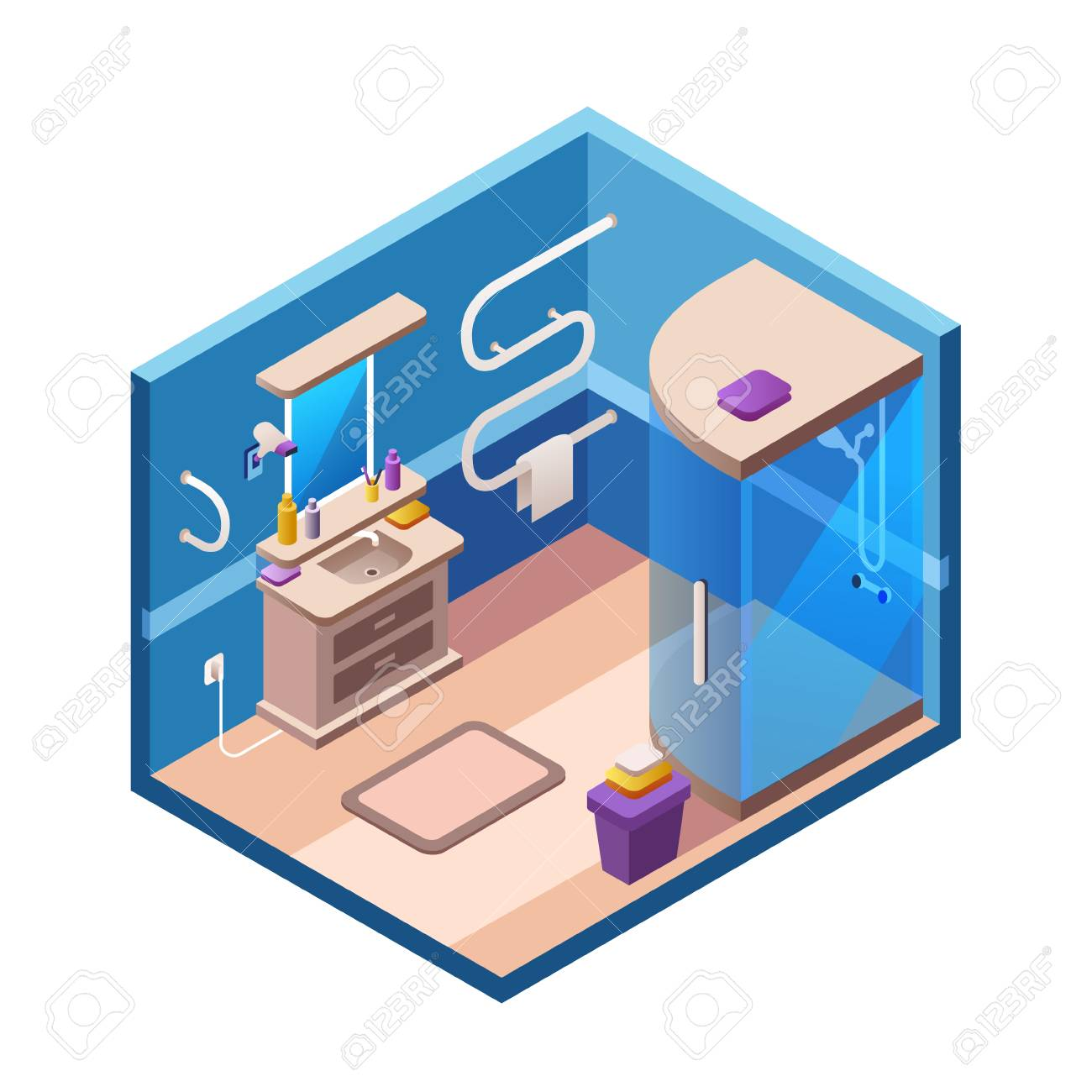 Vector Isometric Bathroom Interior Background Section Template