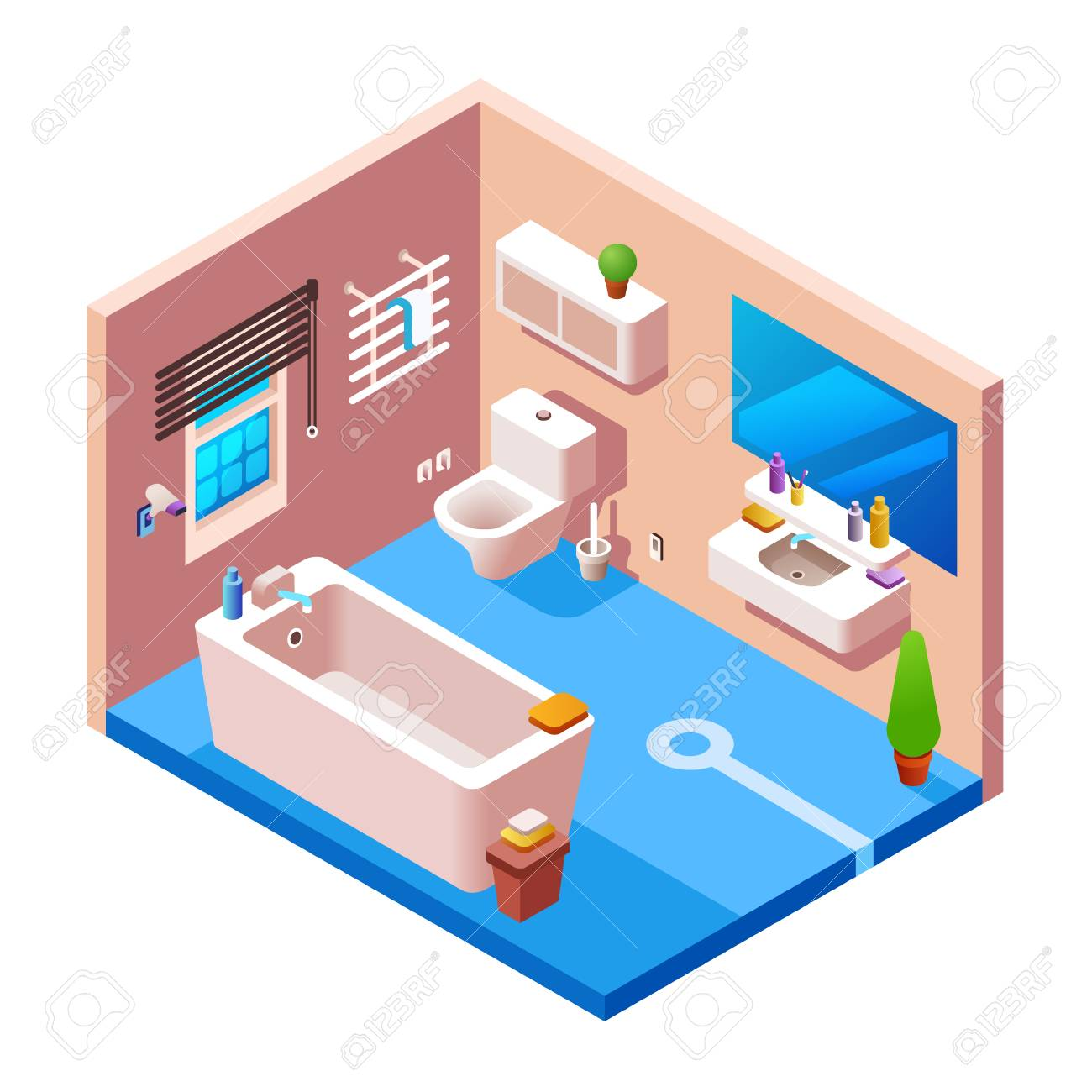 Vector Isometric Bathroom Interior Background Cross Section Template