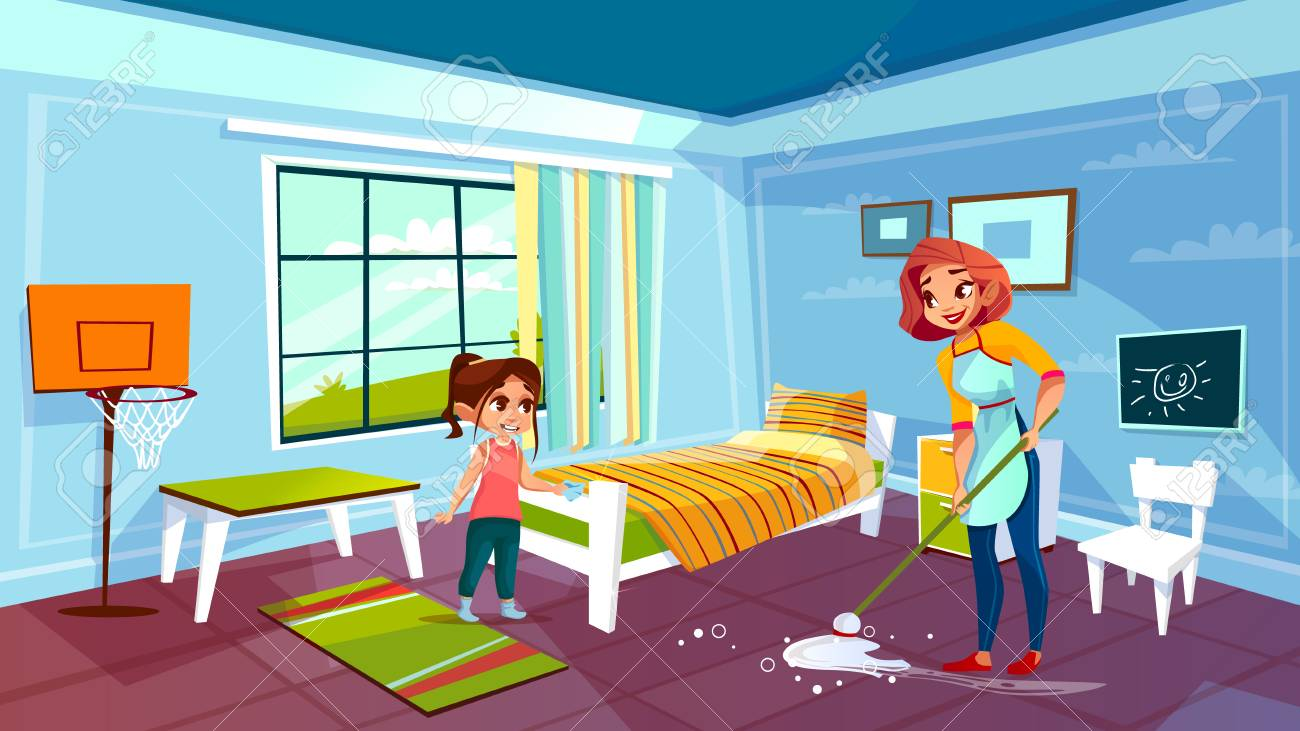 Mother And Daughter Cleaning Room Vector Illustration Of Woman Together  With Girl Help Mopping Or Wiping Floor From Spilled Water. Flat Cartoon  Modern Kid Bedroom With Bed And Furniture Royalty Free Cliparts,