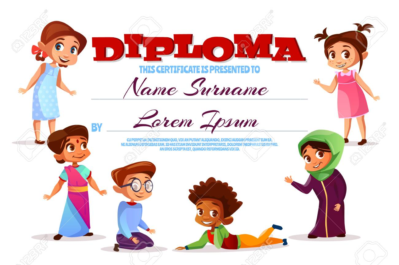 diploma or kindergarten certificate vector illustration cartoon