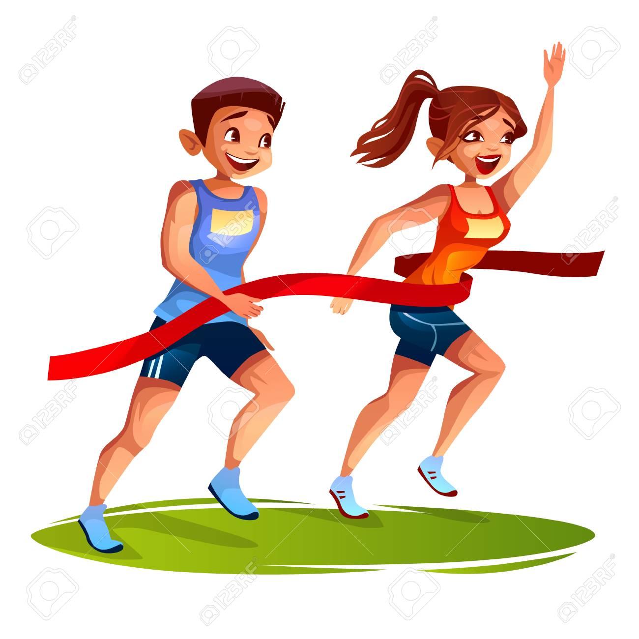 Kids Running Race Clip Art - Royalty Free - GoGraph