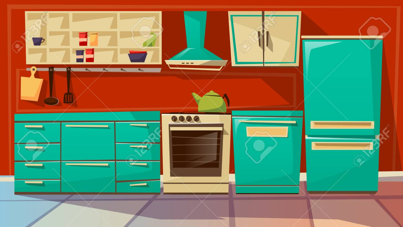 Modern Kitchen Interior Illustration Cartoon Flat Background