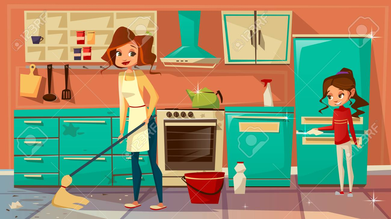 Cartoon Mother Daughter Girl Helps Cleaning Kitchen ther ... on animated kitchen, cartoon clean kitchen, top cartoon from the kitchen, drawing of cartoon kitchen, cartoon restaurant kitchen, cartoon mother with a kitchen,