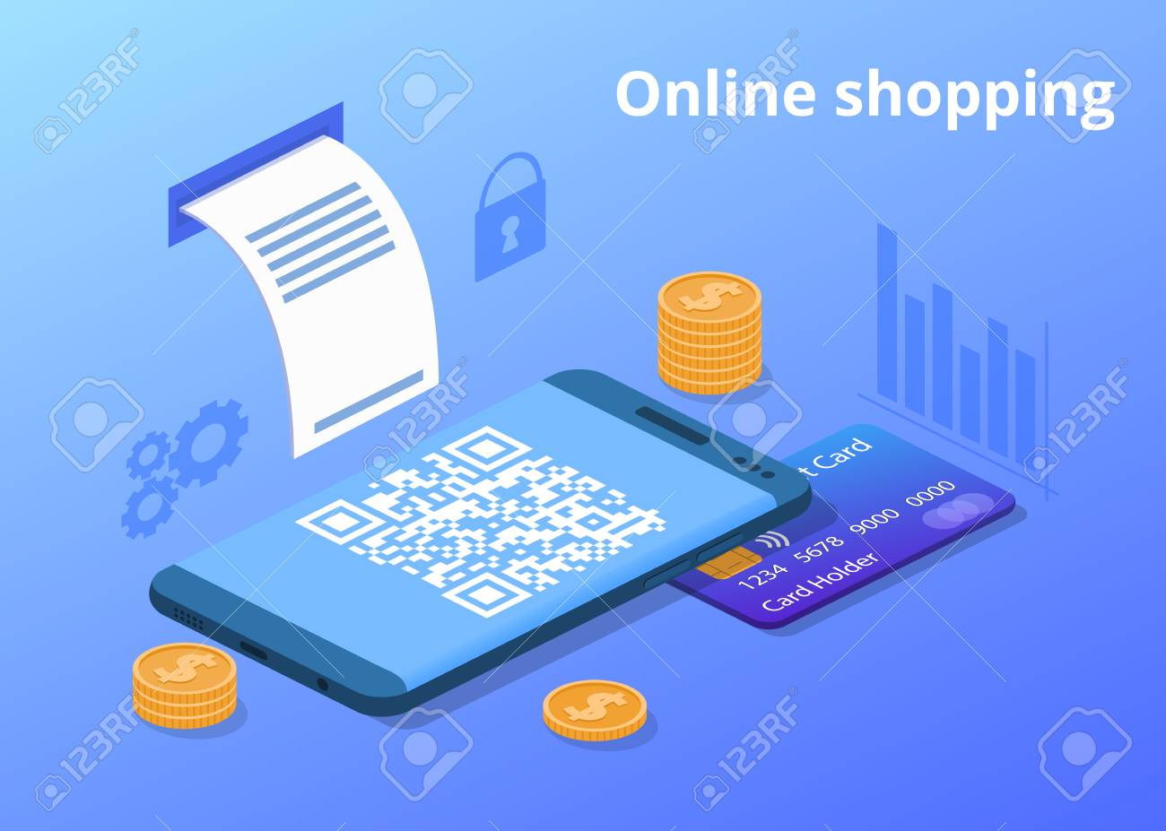 Online shopping vector illustration for digital retail and mobile trade. Credit card, money coins and shop QR code of web store purchase receipt in smartphone with secure payment technology - 106133001