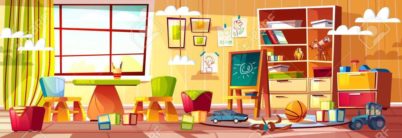 Vector cartoon kindergarten for children, playground with window. Recreational stuff, interior of kids room, preschool. Toys for teaching infants - cubes, cars and blackboard. - 106918268