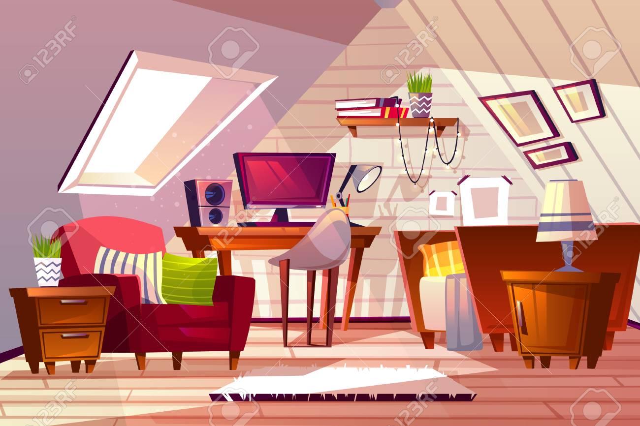 Attic Room Interior Vector Illustration Cartoon Garret Design