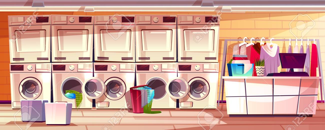 Laundry shop room interior vector illustration of laundromat..