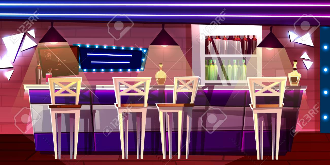 Bar or pub counter vector illustration in night club or hotel interior Cartoon flat design of alcohol drinks bottles on refrigerator self with chair seats and barista menu board. - 109798683