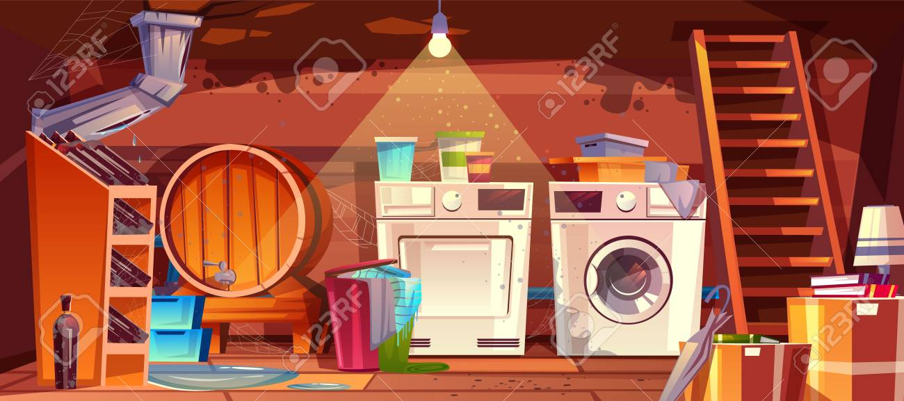 Cellar with leakage flood and black mould on walls vector illustration. House basement or wine vault with barrel, bottles or laundry dryer and washing machine, cartoon dirty shabby interior background - 109738616