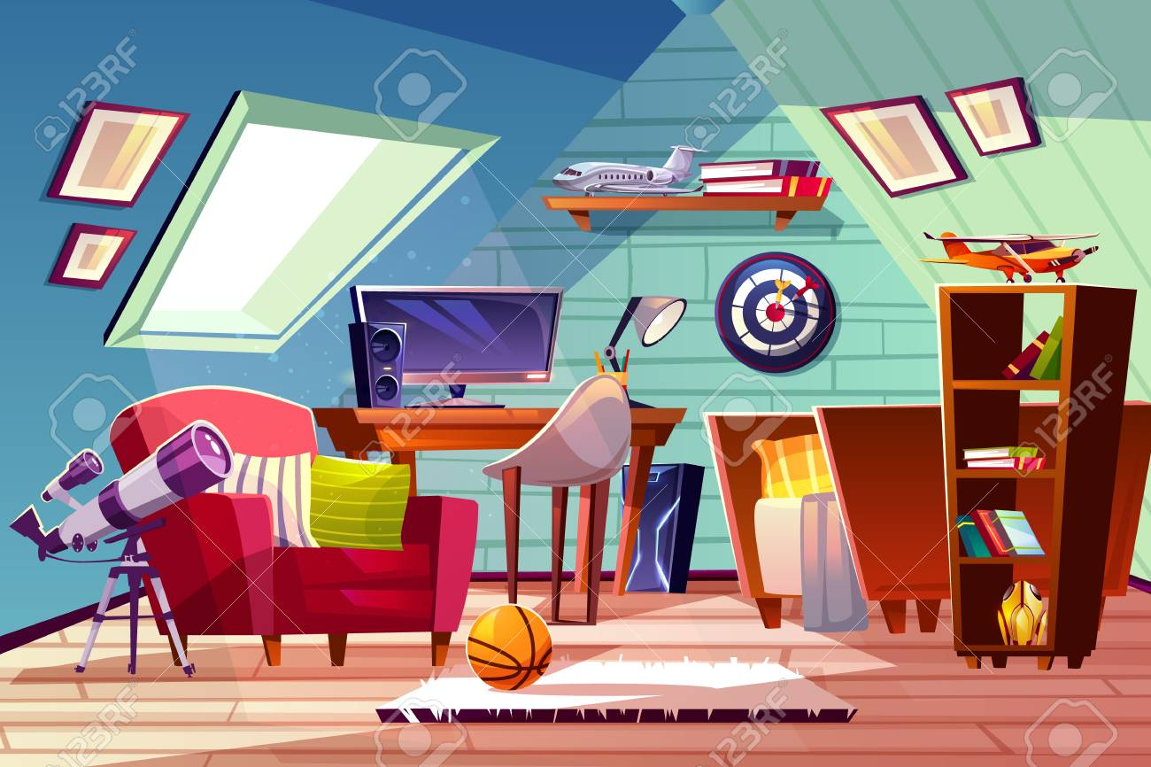 Teen boy kid attic room interior vector illustration. Comfortable..
