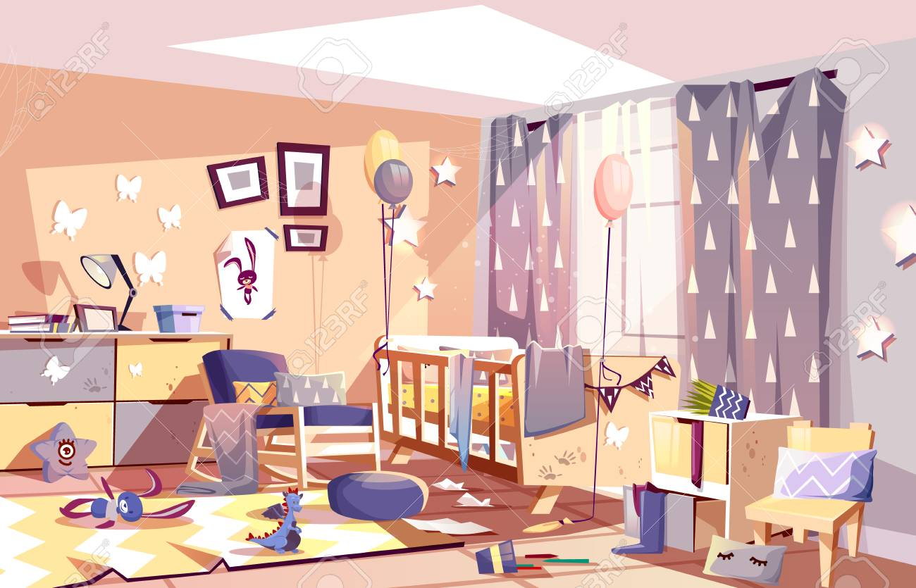 Little child messy room interior with scattered toys and traces..