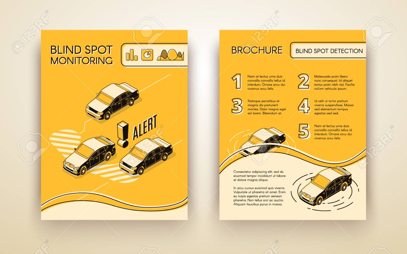 Blind Spot Monitoring Assistance System Brochure Or Flyer Isometric