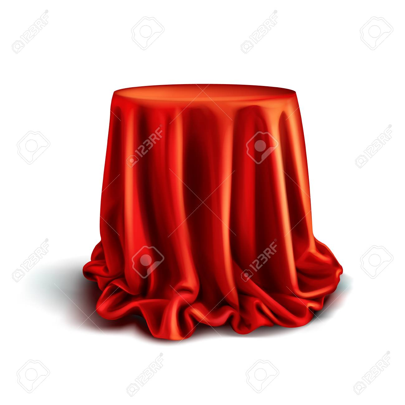 Vector realistic box covered with red silk cloth isolated on white background. Empty stand or table with tablecloth to show magic tricks. Secret gift, hidden under satin fabric with drapery and folds - 114043460