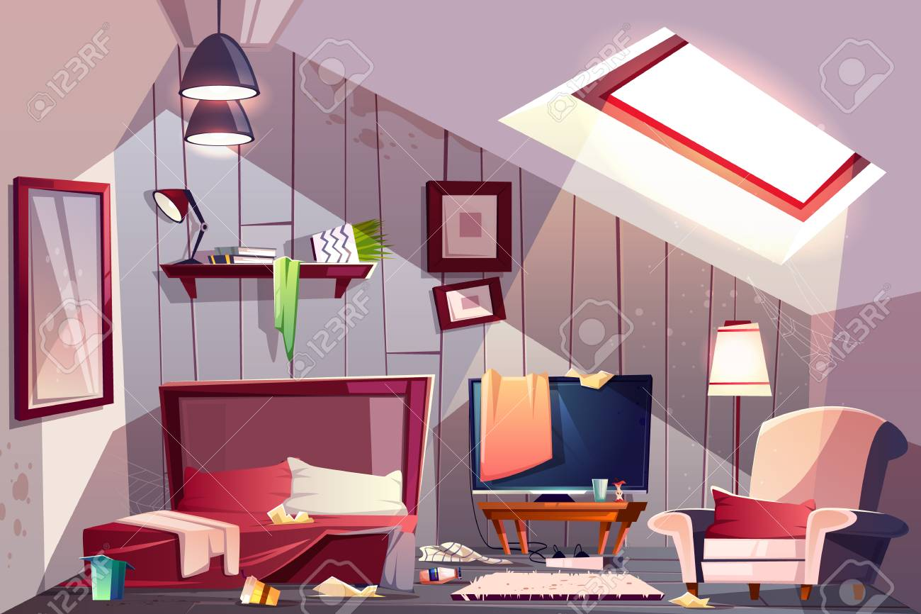 Messy attic bedroom or guest room on garret interior with scattered clothes, stained walls and spider web in corners cartoon vector illustration. Bad household, cleaning at home, messy guests concept - 126716035