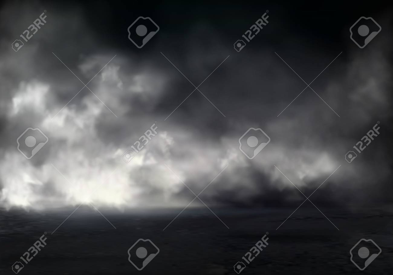 Morning fog or mist on river, smoke or smog spreading at dark water or ground surface realistic vector background. Natural phenomenon, mysterious atmosphere element, environment design visual effect - 126716051