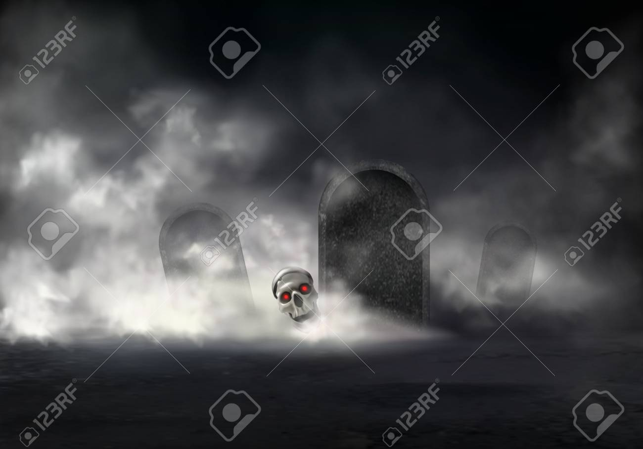 Horror on old cemetery at foggy night realistic vector. Zombie head, skull of deceased with glowing red eyes getting out from grave illustration. Risen with black magic dead. Halloween background - 126558944