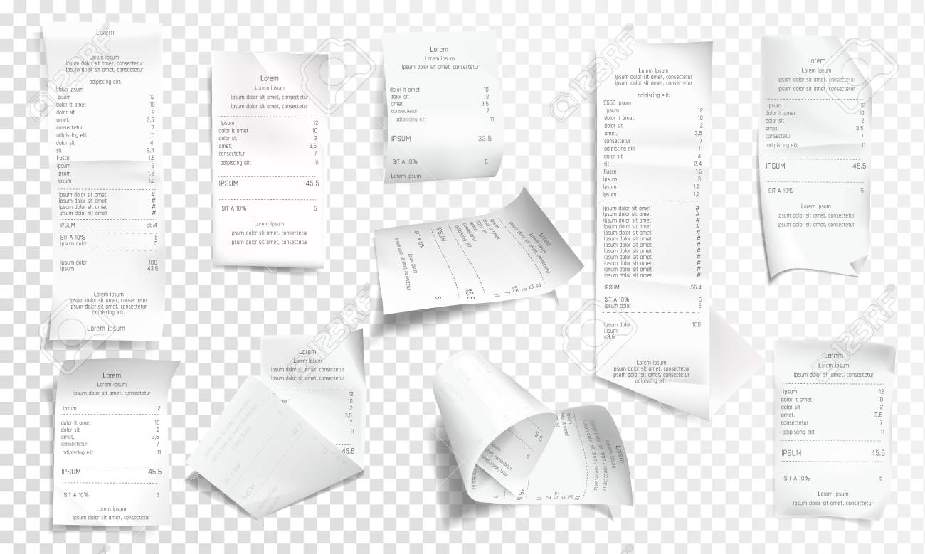 Vector realistic receipt collection, white paper with payment isolated on transparent background. Creased financial printout for shop, store. Retail bill, rumpled commercial check or invoice. - 126558948