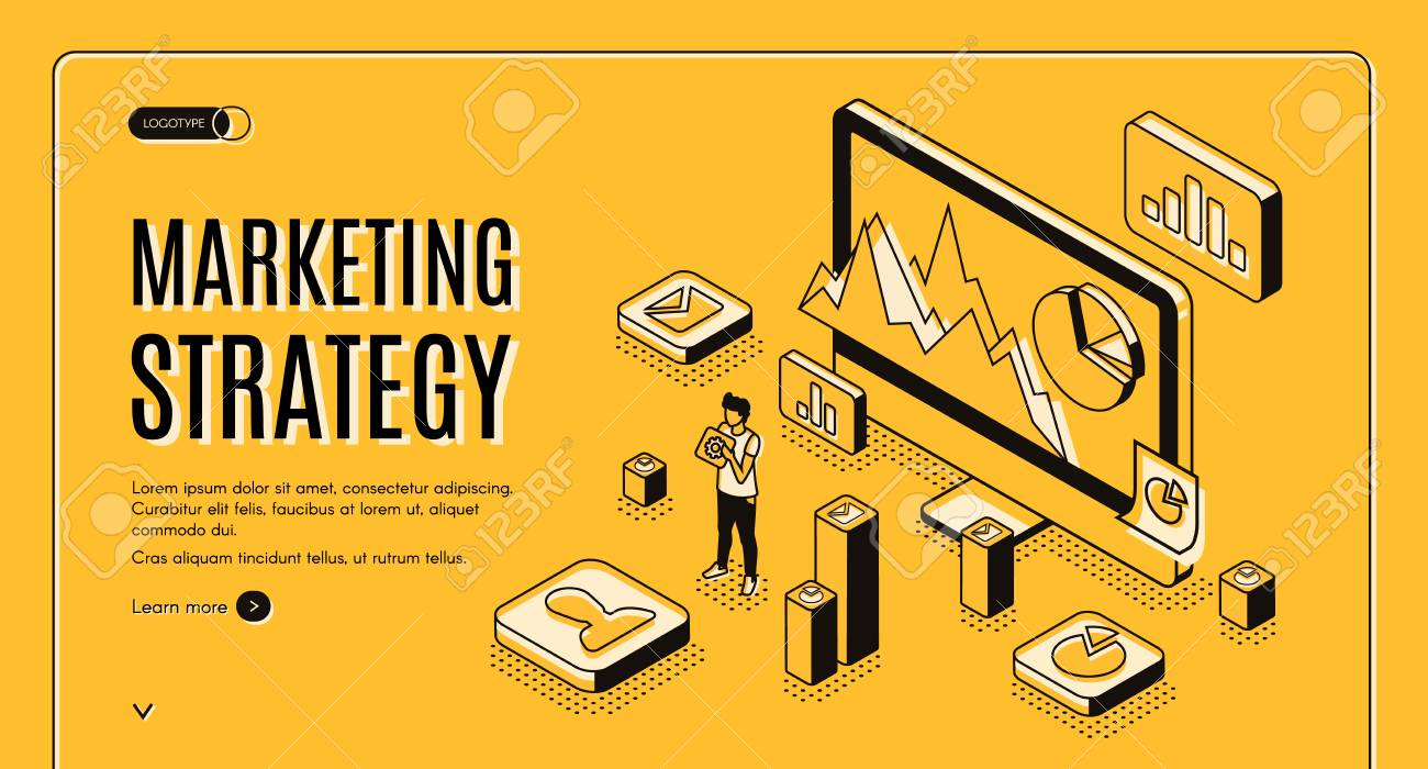 Digital marketing agency isometric vector web banner  Internet