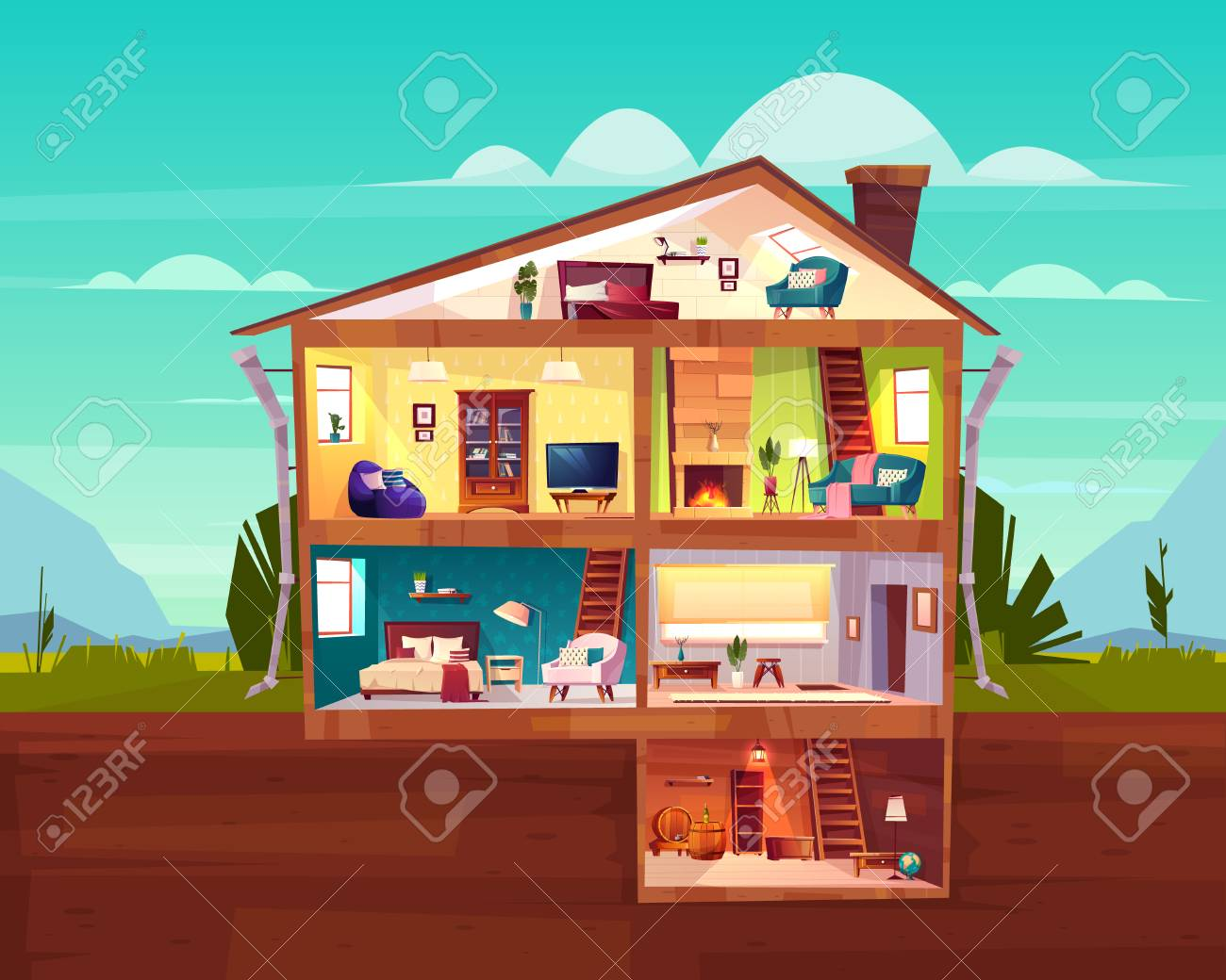 Two-storey cottage house cross section interior cartoon vector with spacious hall, fireplace in comfortable living room, bedroom on attic and wine cellar in basement illustration. Real estate concept - 124860564