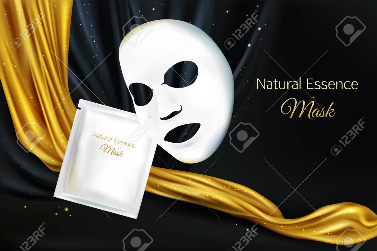 Vector 3d realistic mock up of white sheet facial cosmetic mask for women, lux concept with black background and golden fabric, cloth. Skincare product for face. Background with moisturizing cosmetics - 124860572