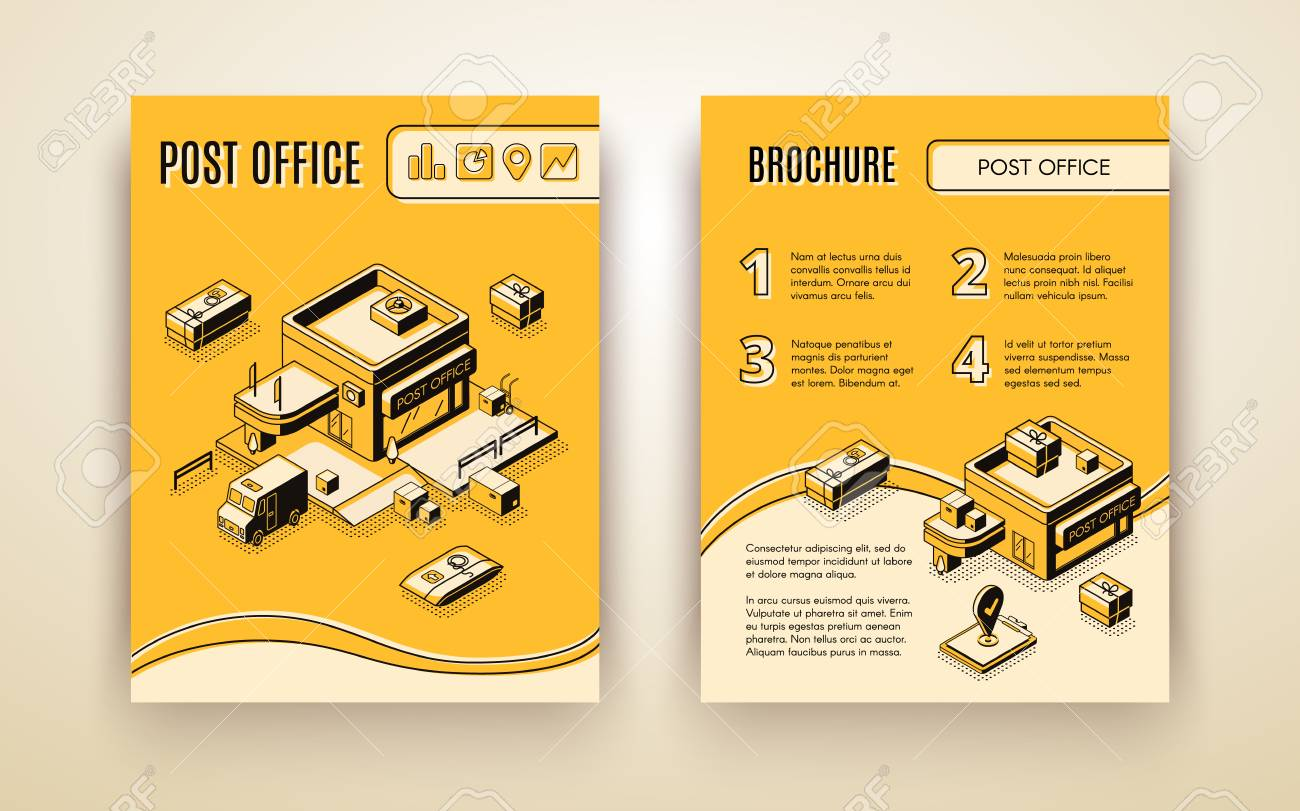 Post or delivery service, business logistics company isometric