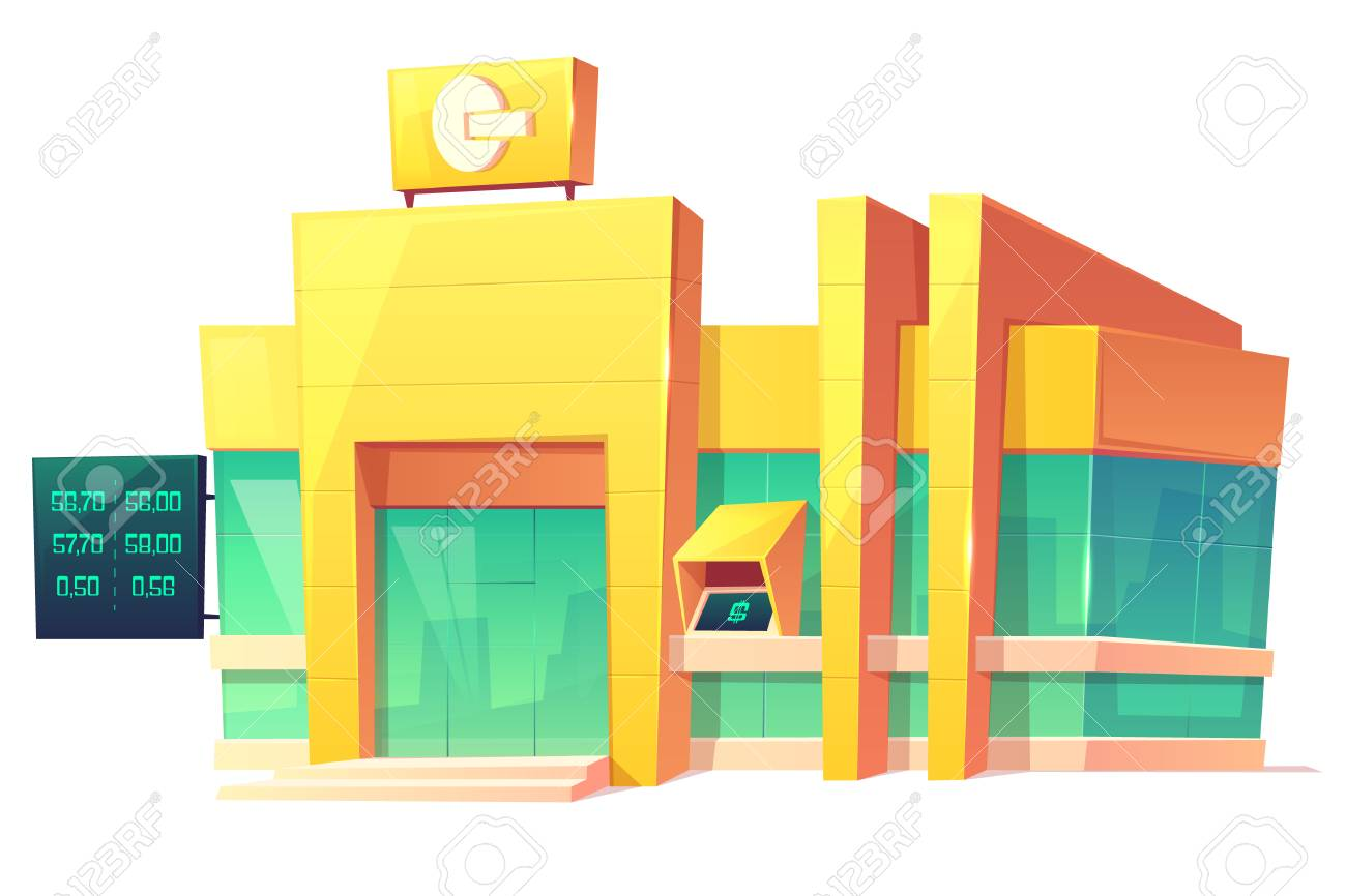 Bank contemporary building with currency exchange rates on digital