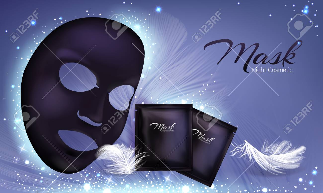 Vector 3d Realistic Banner With Black Sheet Facial Cosmetic Mask Royalty Free Cliparts Vectors And Stock Illustration Image 124860609