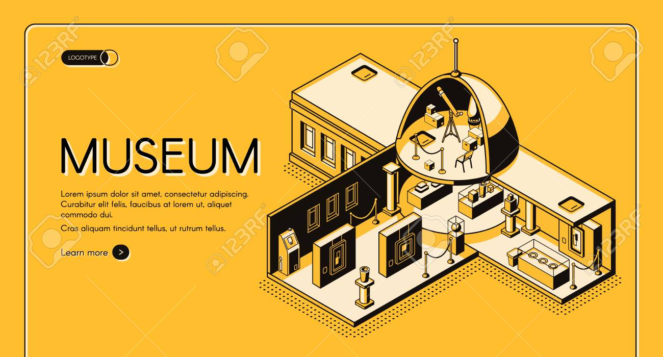 Historical, art or science museum cross section isometric vector web banner. Classic architecture building with domed roof yellow, black line art illustration. Public exhibition landing page template - 121309411