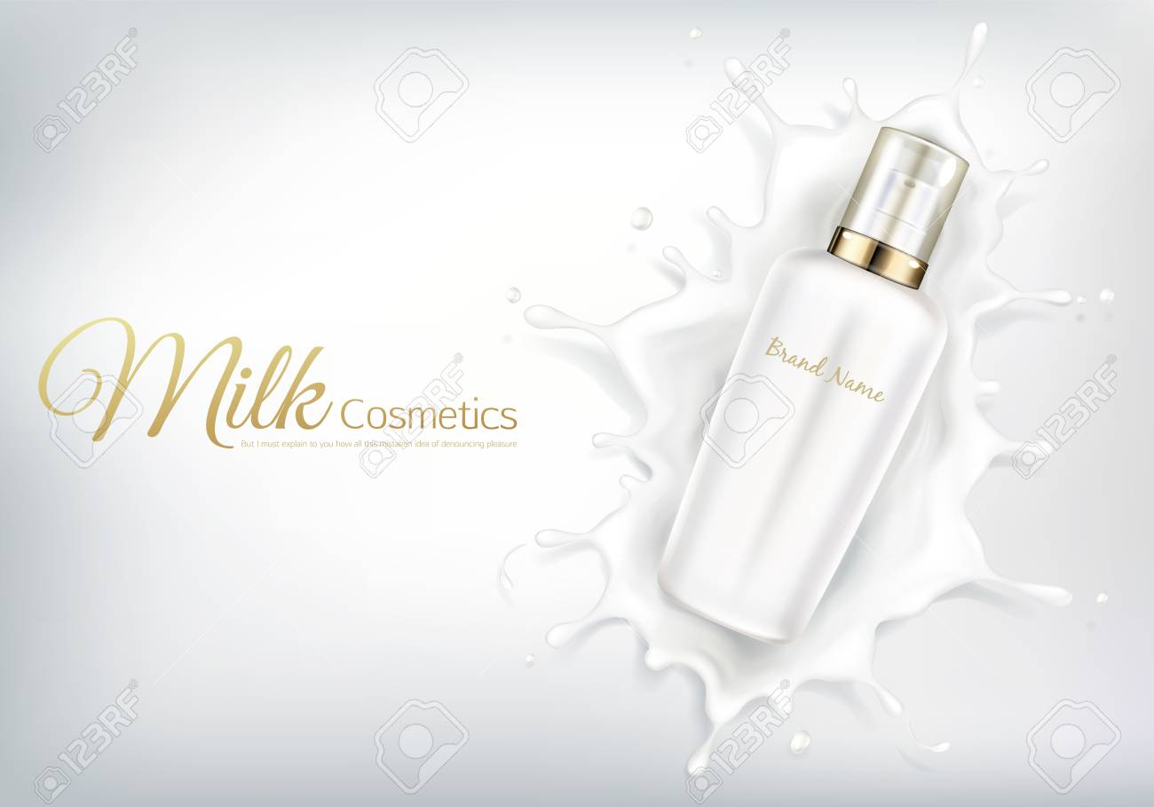 Vector Cosmetic Banner With Realistic Bottle For Skin Care Cream Royalty Free Cliparts Vectors And Stock Illustration Image 122832213