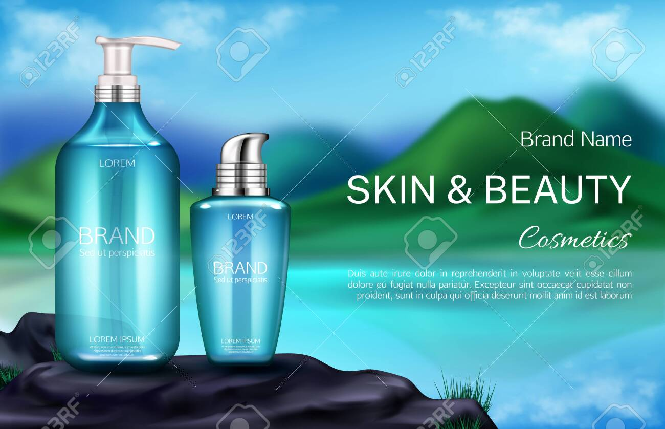 Cosmetics Bottles Natural Beauty Product For Skin Care Banner Royalty Free Cliparts Vectors And Stock Illustration Image 129309346
