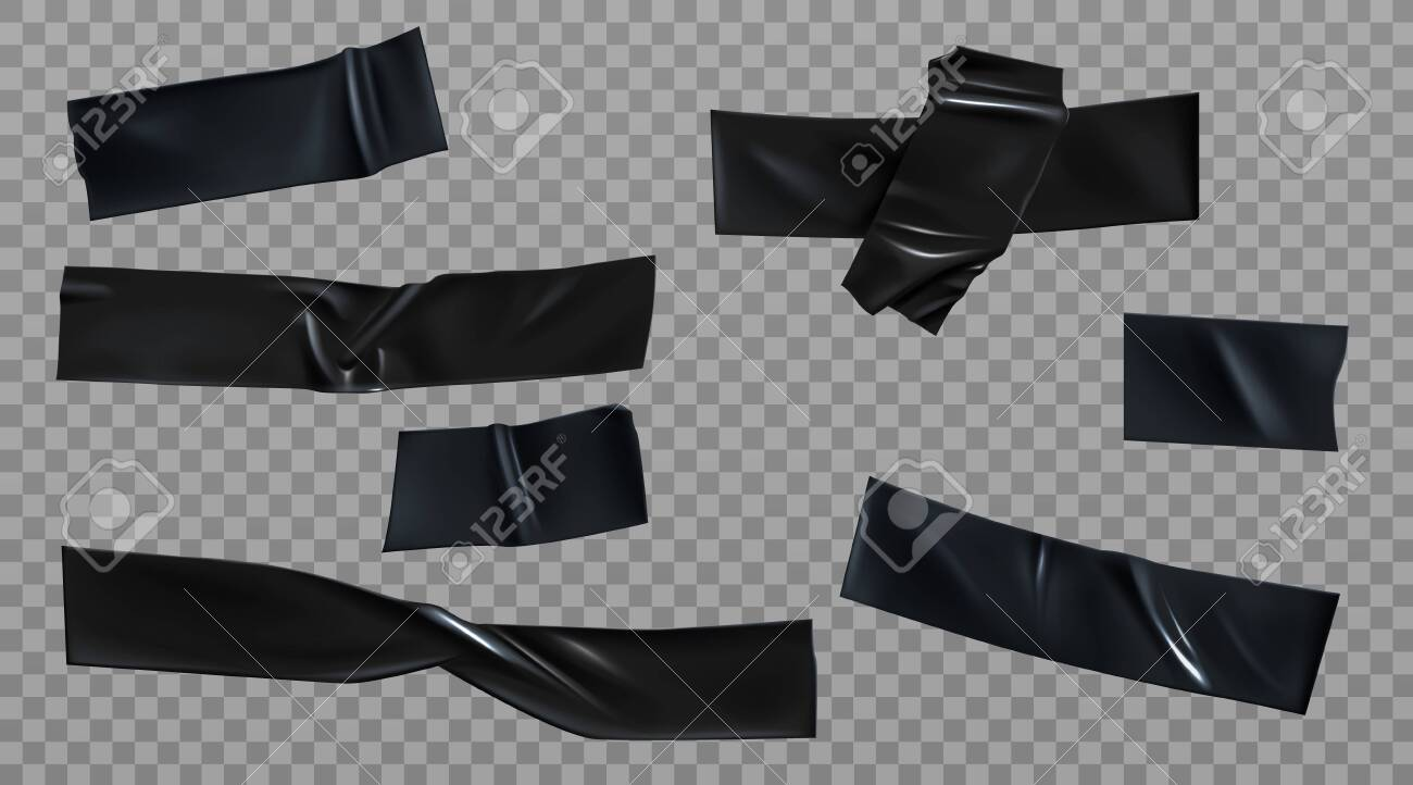 Black duct tape set. Insulating adhesive wrinkled stripes and cross glued sticky scotch pieces for fix, repair or packaging purpose isolated on transparent background Realistic 3d vector illustration - 138080567