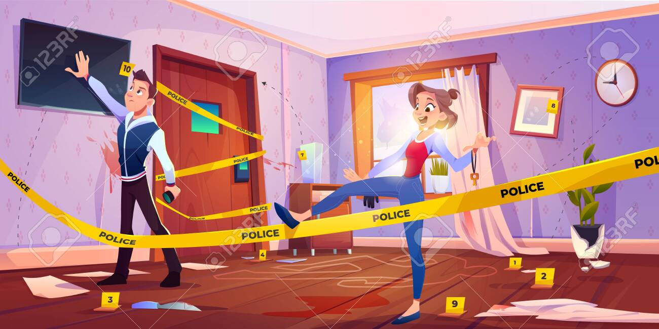 Quest escape room with crime scene, man and woman searching exit from murder place fenced with yellow police tape and chalk silhouette of dead body on floor in apartment. Cartoon vector illustration - 138080568